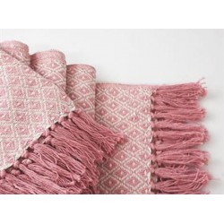 PLAID 130X180CM COTON LOSANGES ROSE SAUMON