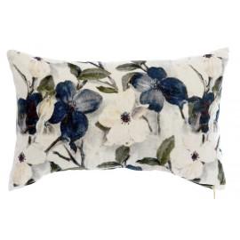 Coussin fleuri bleu en velours