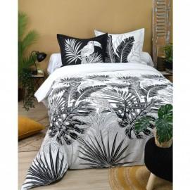 Housse de couette tropicale noir et blanc