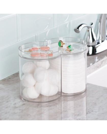 Pot à coton et coton tiges acrylique transparent Interseign