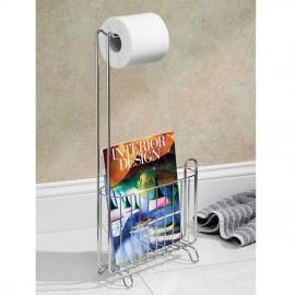 Porte papier wc dérouleur avec porte revue inox Interdesign