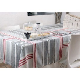 NAPPE LIN LAVE 170x250CM BAYADERES GRIS ROUGE