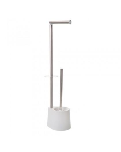 Porte rouleau papier wc avec réserve, dérouleur et brosse
