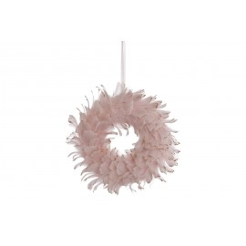 COURONNE 28X28X6CM PLUMES ROSE OR