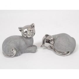 Statuette chat argent